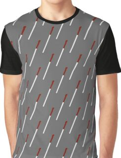 Red-Patterned-Handle Grey Wand Graphic T-Shirt