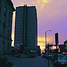 Walking Back To the Hilton Hotel in Lincoln, Nebraska At Sunset by Jane Neill-Hancock