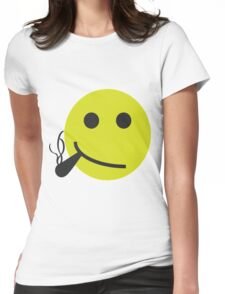 Smiley Smoking Cannabis T Shirt For Men Womens Fitted T-Shirt