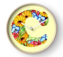 """Floral Letters """"C"""" Clock"""