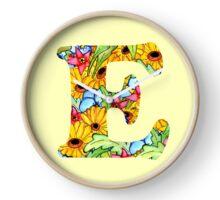 """Floral Letters """"E"""" Clock"""