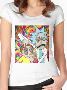 Psychedelic Rick and Morty  Women's Fitted Scoop T-Shirt