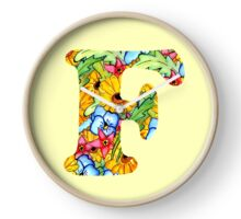"""Floral Letters """"F"""" Clock"""