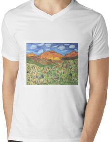 Patches Mountain Mens V-Neck T-Shirt
