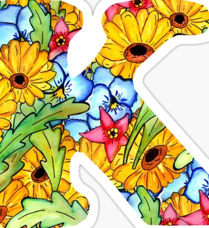 "Floral Letters ""K"" Sticker"