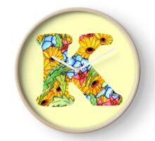 "Floral Letters ""K"" Clock"