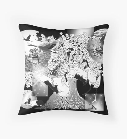 Crane with cherry blossoms Black and white asian art on dark background Throw Pillow