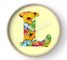 """Floral Letters """"L"""" Clock"""