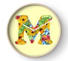 """Floral Letters """"M"""" Clock"""