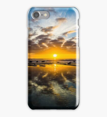 Reflections in the Sand: Sunset at Sands Beach iPhone Case/Skin