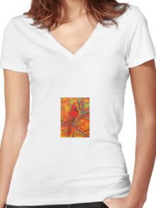 Fall Cardinal Women's Fitted V-Neck T-Shirt