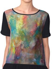 Abstract Color Painting Chiffon Top