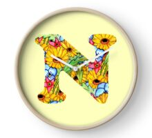 "Floral Letters ""N"" Clock"