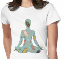 Floral Nature Yoga  Meditation Womens Fitted T-Shirt
