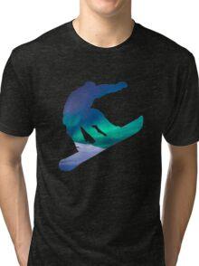Snowboarder Silhouette Winter Sky Aurora Northern Lights Tri-blend T-Shirt