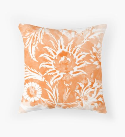 Peach Orange Iznik Pattern Throw Pillow