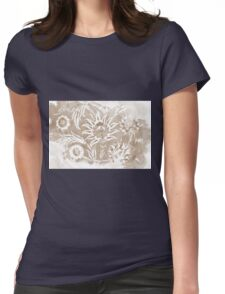 Taupe Greige Iznik Floral Womens Fitted T-Shirt