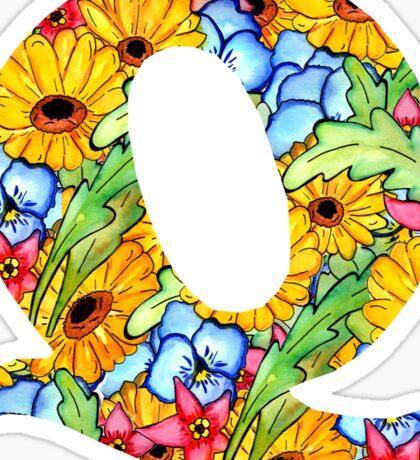 """Floral Letters """"Q"""" Sticker"""