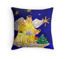 Angels and the Christmas Tree Throw Pillow