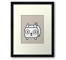 Pit Bull Loaf - White Pitbull with Cropped Ears Framed Print