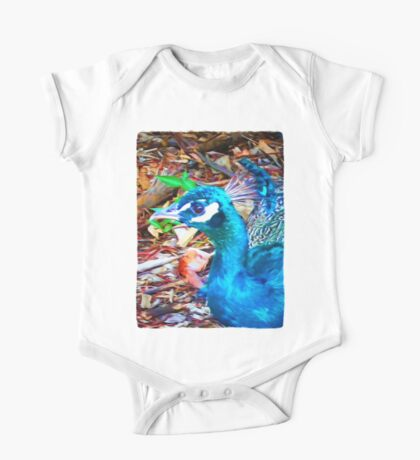 Surreal Blue Peacock One Piece - Short Sleeve