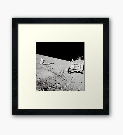 Apollo 15 moonwalk. Framed Print