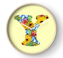 """Floral Letters """"Y"""" Clock"""
