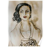 Strong Women Series: Modern Woman at the Coffee Shop (Watercolor) Poster