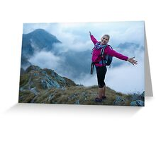 Woman backpacker hiking on a trail Greeting Card