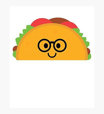 Taco Emoji Nerd Noob Glasses Photographic Print