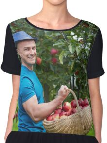 Farmer picking apples in a basket Chiffon Top