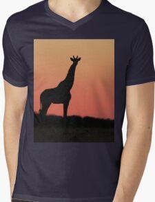 Giraffe Silhouette - Pink African Sunset Mens V-Neck T-Shirt