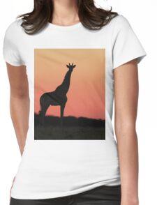 Giraffe Silhouette - Pink African Sunset Womens Fitted T-Shirt
