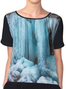 Frozen waterfall in the winter Chiffon Top