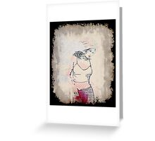 Beautiful halftone girl Greeting Card