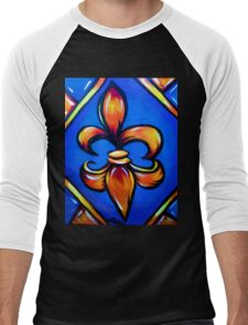 Blue and Orange Fleur d lis  Men's Baseball ¾ T-Shirt
