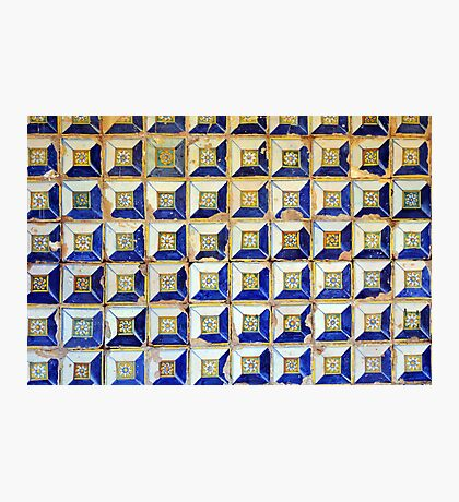 Ceramic decorative tiles with blue yellow colors and flower painting. Photographic Print