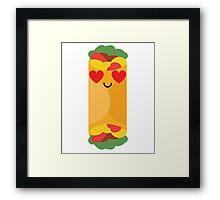 Burrito Emoji Heart and Love Eye Framed Print