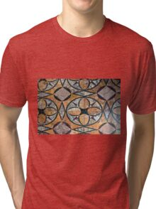 Ceramic decorative tiles with blue orange colors and flower. Tri-blend T-Shirt