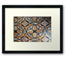 Ceramic decorative tiles with blue orange colors and flower. Framed Print