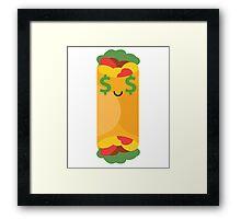 Burrito Emoji Money Face Framed Print