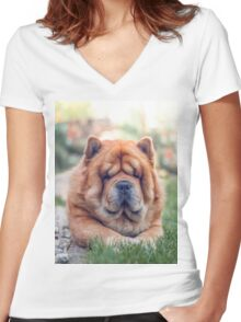 Chow portrait Women's Fitted V-Neck T-Shirt