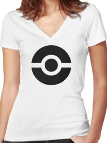Pokeball Icon Women's Fitted V-Neck T-Shirt