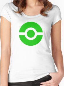 Pokeball Icon Green Women's Fitted Scoop T-Shirt