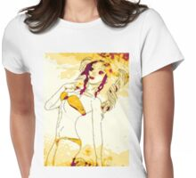 Halftone bikini girl 2 Womens Fitted T-Shirt