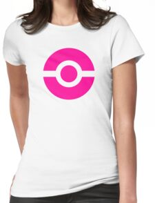 Pokeball Icon Pink Womens Fitted T-Shirt