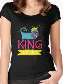 Cat - king of parties  Women's Fitted Scoop T-Shirt