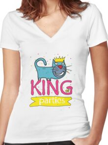 Cat - king of parties  Women's Fitted V-Neck T-Shirt