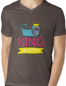 Cat - king of parties  Mens V-Neck T-Shirt