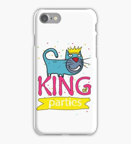 Cat - king of parties  iPhone Case/Skin